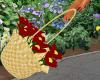 Basket Wicker Red Flower