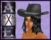 X Cowgirl Hat w Blk Hair