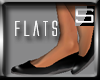 [S] Plain Black Flats