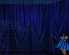 Ruffled blue curtains