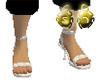 White Snake Skin Sandals
