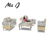 wht/gld  sofa set