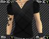 $M$ Black Plaid V-Neck
