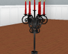 black and red candelabra