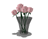 red roses - black vase
