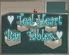 Teal  Hearts Bar Table