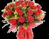 red vase flowers