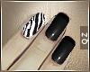 Zebra Black Short Nails