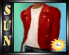 [SUN]Red  Leather Jacket