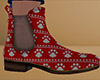 Red Paw Print Ankle Boot