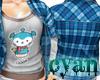 *c* Blue Shirt Worm Logo