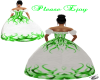 white&green gown