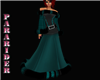 teal fur gown