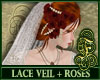 Lace Veil + Red Roses