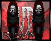 R: Skull Shin Guards Red