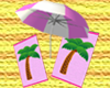 Pink Umbrella + Towels