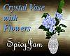 Crystal Vase/Blu Flowers
