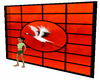 white crane & red wall