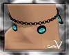 ~V Black & Teal Anklet