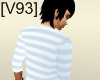 [V93]V NECK WHITE STRIPS
