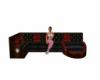 sofá rojo negro
