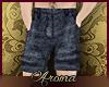 AOP=Blue linen shorts