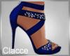 C navy blue sparkle heel