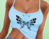 Butterfly Crop Top-Blue