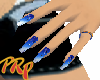 blue air brushed nails
