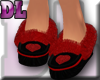 DL: Black Slippers/Red