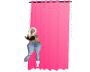 pink curtain with lights