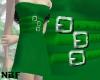 Green buckle dress
