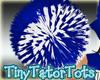 Blue White PomPoms