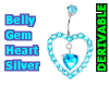 Belly Gem Heart Silver