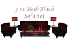 [BM]3pc RedBlk Sofa Set