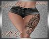 !a Short+Tattoo Blk RLL