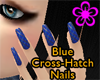 Blue Cross-Hatch Nails