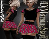 Pink Skull Skirt Blk Top