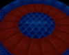 BLUE IN RED ROUND ROOM