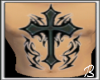 {B} A Chest Cross Tattoo