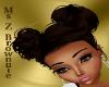 Girls Brown Hair Pom Pom