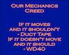 BE Mechanics Creed