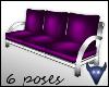 Purple satin 3 seat sofa