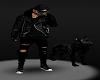 Black Mask Barking Dog Leather Coat