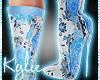 Blue Floral Boots
