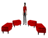 4 red stools