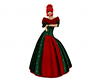 Red green long fur gown