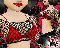 Fishnet Top w/Red Bra