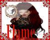 Flame red long hair