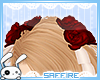 Hair Roses Ribbons Red